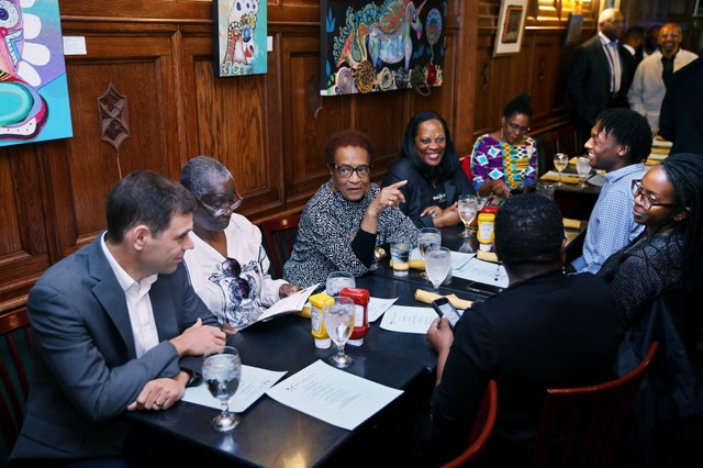 The Journal-isms Roundtable hosts Derrick Johnson, president and CEO of the NAACP, Tuesday, Oct. 8, 2019. in Washington at Mr. Henry's. Narrative