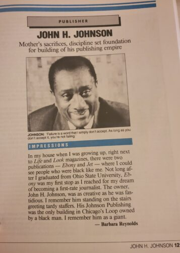 john h johnson interview usa today with dr barbara reynolds in the book And Still We Rise