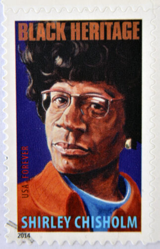 A stamp printed in USA shows Shirley Chisholm black heritage cir